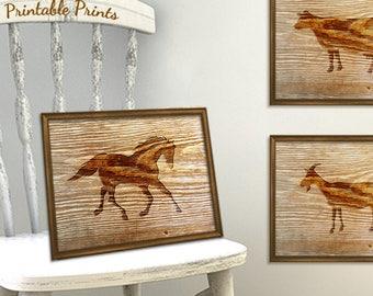 Rustic Nursery Art Horse Print Digital Download, Printable Horse Art, Horse Lover Rustic Wall Print (01710b1v)
