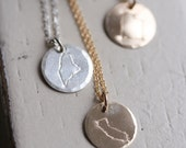 There's No Place Like Home -- State Necklace/Card Set - SOLID sterling or 14K GOLD-FILLED