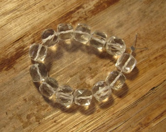 13 Rock Crystal Cubes, Clear Quartz Beads, 7mm Faceted Cubes, Four Inch Strand, Jewelry Supplies (S-Cq1)