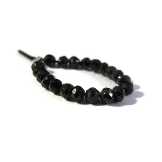 Black Spinel Faceted Rondelles, 20 Count, Faceted Gemstone Beads, Necklace Rondelles, Black Diamond Substitute, Jewelry Supplies (L-Sp4)