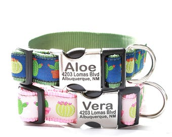 Personalized Laser Engraved Dog Collar -- Desert Cactus ALOE & VERA Patterns