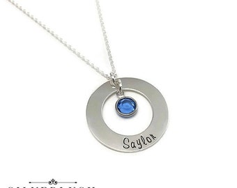 Custom Sterling Silver Mother's Necklace with Child's Name & Birthstone