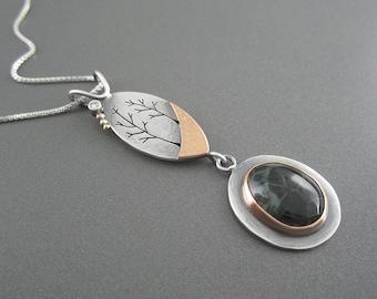 Handmade Dream Together Mixed Metal Sterling Silver, Rose Gold,  Diamond, Michigan Greenstone Pendant