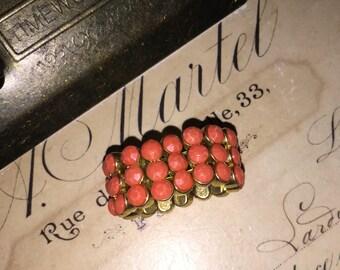 Vintage Elastic Orange Enameled Ring