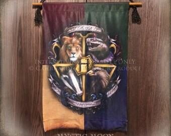 Hogwarts Crest XL Cloth Banner / Harry Potter Ornament Gift / Hogwarts Alumni / Slytherin / Grydffindor / Hufflepuff / Ravenclaw