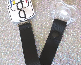 Pacifier Clip Pocket Protector Pacifier Clip Paci Soother Mam Nook Binky Holder nerdy geek geekery trendy hipster baby boy CHOOSE Loop Snap