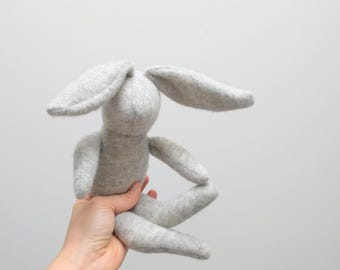 Small handmade stuffed Bunny Rabbit hare soft upcycled wool bunny doll for kids unisex light grey soft wool OOAK eco toy bubynoa Bunnies
