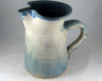 Vintage Soft Blue & White Handmade Pottery Pitcher/Creamer SIGNED Mint Condition 1980s Country Decor/Collectible Pastel Blues