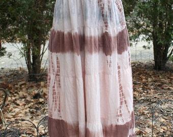 Tie dye maxi dress hippie festival long India cotton small medium