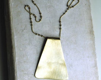 Geometric Necklace, Brass Trapezoid, Long Necklace, Layering Necklace, Bohemian Style
