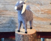 Goat in Grey with Horns - Needle Felted Christmas Ornament