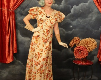 Vintage 1930s Old Hollywood Autumnal floral Gown w/ puffed sleeves - Size Small