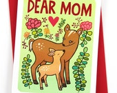 Dear Mom - Sweet Mothers Day Card Floral Gifts for Mom Mothers Day Gift Mom Birthday Card Happy Mother's Day Card for Mom Gift for Mom Card