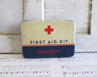 Vintage Johnson & Johnson First Aid Kit Tin