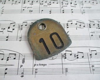 Large Double Sided O. E. Franklin Serum Co. Vintage Brass Cow Tag Number 10