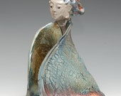 Kwan Yin Kannon Angel with Copper Flowing Folded Body in Raku Ceramics
