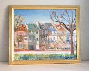 Original Oil Painting, Plein Air Painting, Old St. Charles Missouri, Fine Art, Small Town America 16x20 on Canvas, Framed Wall Hanging