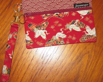 Wrist Strap Zippered Pouch Flying Cranes, Pines and Clouds Design Japanese Asian Fabric Deep Red