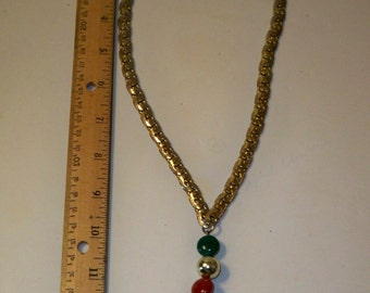 Gold Tassel Necklace, Vintage Tassel Necklace, Signed Designer Gold Necklace with Orange, Green, Gold  Gemstone Dangle and Gold Chain Tassel