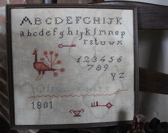 PRIMITIVE*Large Early Style Antique Reproduction Primitive Schoolgirl Alphabet Sampler*1801*Olive Foster*Great Motifs*Fitch Hill Prims*