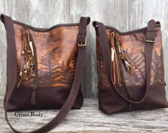 RESERVED for Dave Leather Cross Body Bag in Woodland Leather with Embossed Ferns by Stacy Leigh