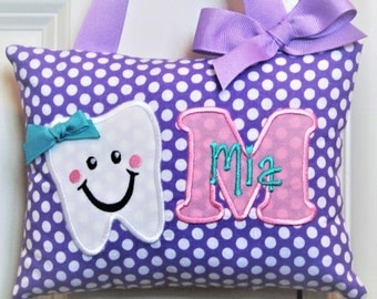 Tooth Fairy Pillow - Violet with White Dots