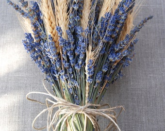 Brides Bouquet of Lavender and Wheat Custom Made Handtied Wedding Dried Flower Bouquet