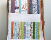Modern Organic Quilt; Contemporary Patchwork Toddler Quilt, Throw Quilt; Custom Organic Quilt; WOODLAND WALK; Baby Gift, Modern Wedding Gift