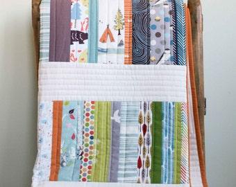 Modern Organic Quilt; Contemporary Patchwork Toddler Quilt, Throw Quilt; Custom Organic Quilt; WOODLAND WALK; Baby Gift, Modern Wedding Gift