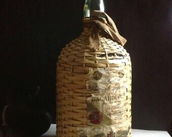 Pirate Rum Demijohn Wicker Glass Bottle Woven Handle Jug Demi John Straps Labels Bacardi Mexico