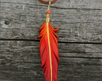 Red, Orange and Gold Phoenix Feather - Leather Firebird Bird Feather Pendant - 3 inches