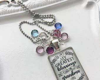 My greatest blessings call me grandma necklace with birthstones of children SILVER