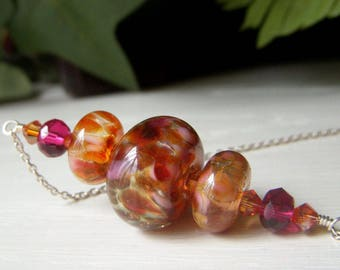 Sunset Lampwork Necklace Sterling Silver, Autumn Necklace, Colorful Lampwork, SRA Lampwork Glass Hues of Cranberry, Gold, Pink and Yellow
