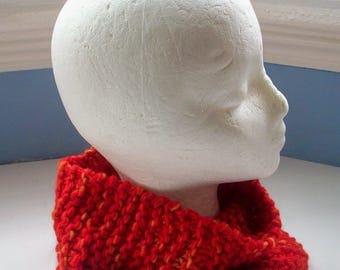 Man's cowl, women's cowl, neck warmer, cosy collar, bright scarlet red cowl, Manos del Uruguay wool