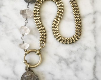 Alia, necklace with antique French watch chain and medal