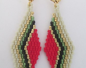 Price Reduction - Chevron Seed Bead Earrings - Red/Green