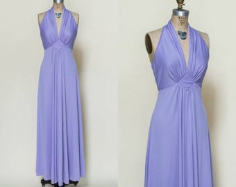 1970s Purple Dress --- Vintage Maxi Dress