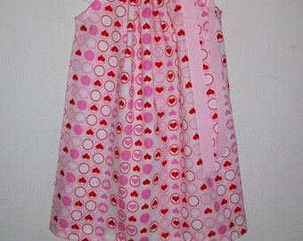 Dress with Hearts Pillowcase Dress Valentines Day Dress  Pink & Red Dress Valentines Outfit Birthday Dress Queen of Hearts Wonderland Party