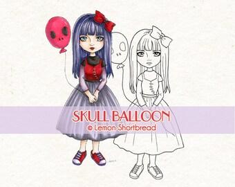 Digital Stamp Skull Balloon Goth Girl, Digi Download, Punk Fashion, Birthday, Coloring Page, Scrapbooking Supplies, Cardmaking Clip Art