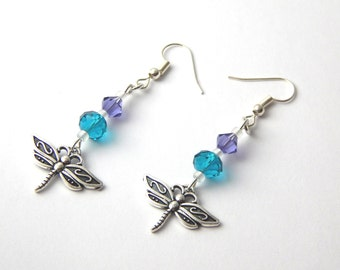 Teal Purple Dragonfly Earrings - Tanzanite, Teal & Aurora Borealis Crystal - Silver Drop Hook Earrings - Teal Dragonfly Nature Earrings