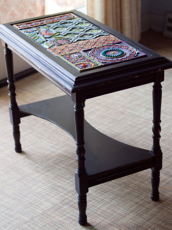 end table mosaic side table boho end table black accent table