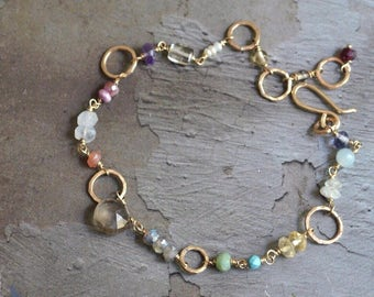 14kt Gold Mixed Gem Bracelet - Gold Link Bracelet - Dainty Gold Bracelet - Smoky Quartz Bracelet - Colorful Bracelet - Multicolor Bracelet
