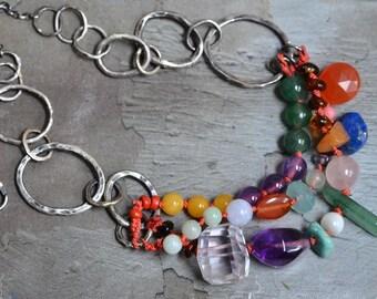 Multi Strand Gemstone Necklace - Artisan Statement Necklace - Oxidized Sterling Link Necklace - Mixed Stone Necklace - Silk Knotted Necklace