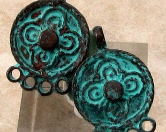 Small Earring Connector, Chandelier, Mykonos Casting, Green Patina, 2 Pieces, M417