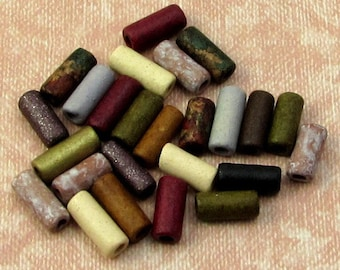 Greek Ceramic Skinny Tube Beads, Earthy Assortment, 3.5x8 mm, 25 Pieces M373