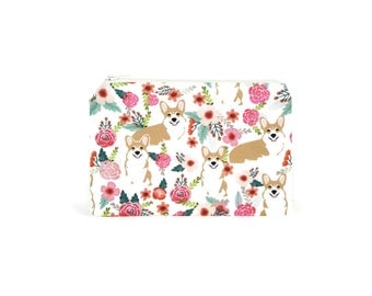CHOOSE SIZE Corgis in the Garden Zipper Pouch / Welsh Corgi Camera Bag on Cream / Make Up or Coin Pouch