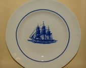 Luncheon Plate in American Clipper Blue by Wedgwood, Blue & White China, Blue Ships, Rope Verge, Multisided