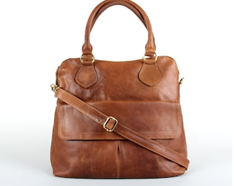 Leather Handbag Tote Bag Purse, Tan