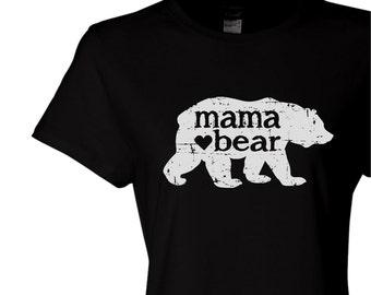 mama bear, womens fitted tee, new mom gift, graphic tee for women, mom tshirt, screen print t-shirt, Christmas gift, bear shirt