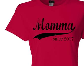 Christmas gift, Momma since ANY year, screen print t-shirt, personalized tee, gifts for mom, graphic tee, new mom gift